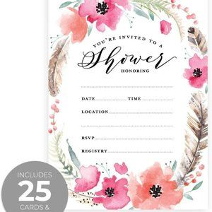 25 Boho Style Shower Fill in the Blank Invites